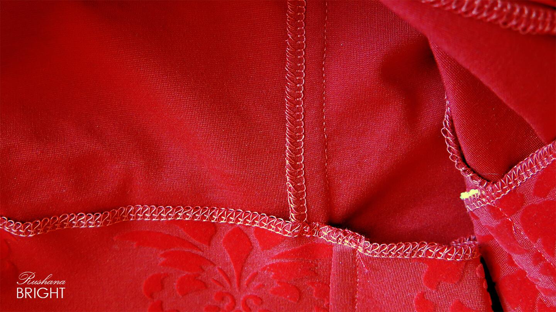 Evening Dress - Red Roses Velvet Gown Material from the Inside