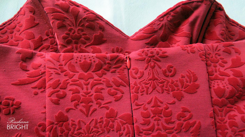 Evening Dress - Red Roses Velvet Gown Material