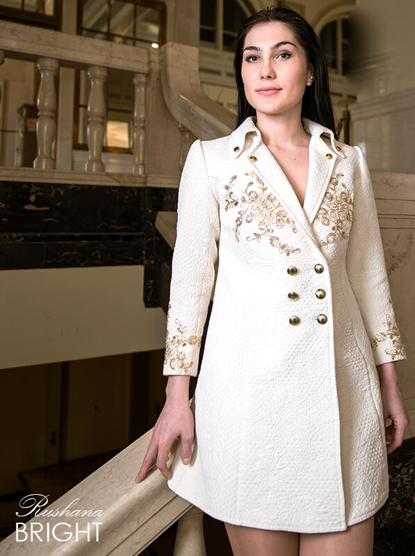 White Damask Blazer Dress for Work and Special Occasion