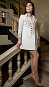 Golden White Damask Blazer Dress with Sleeves